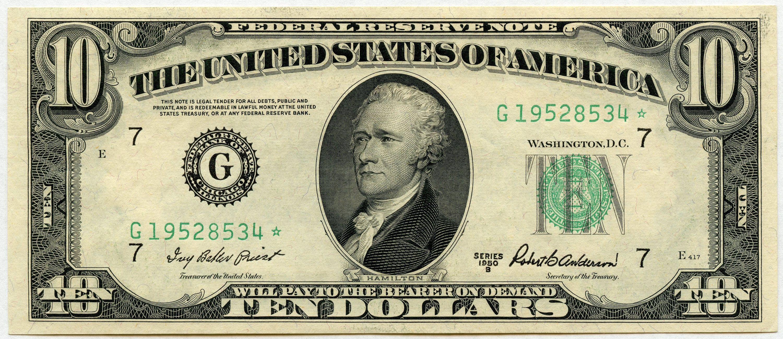 1950b Ten Dollar Federal Reserve Note G19528534 F2012g Star Note Chcu Federal Reserve Note Thousand Dollar Bill 10 Dollar Bill