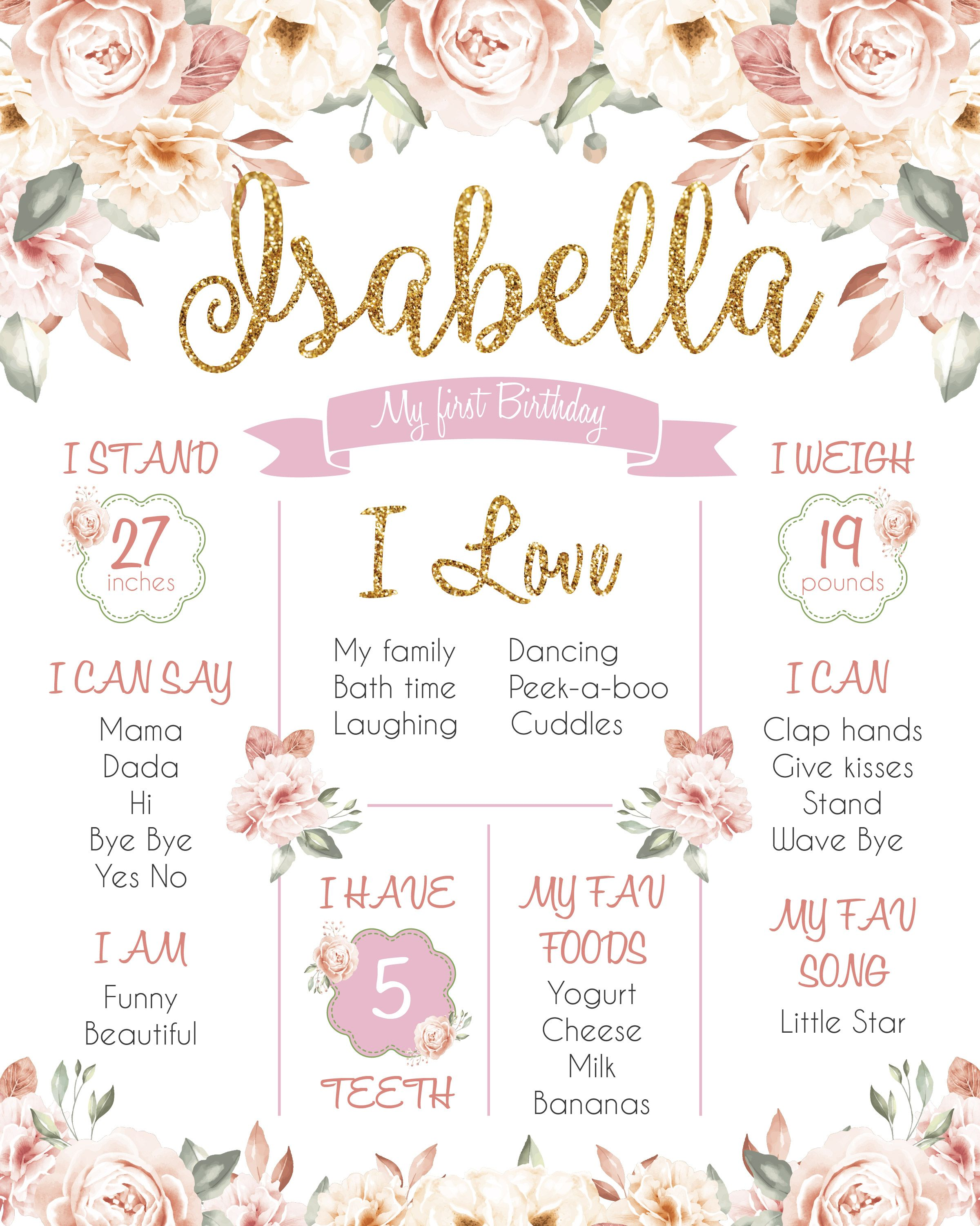 Personalized Birthday Board,First 1st Birthday Print Sign Poster, Pink Gold Girl's Chalkboard