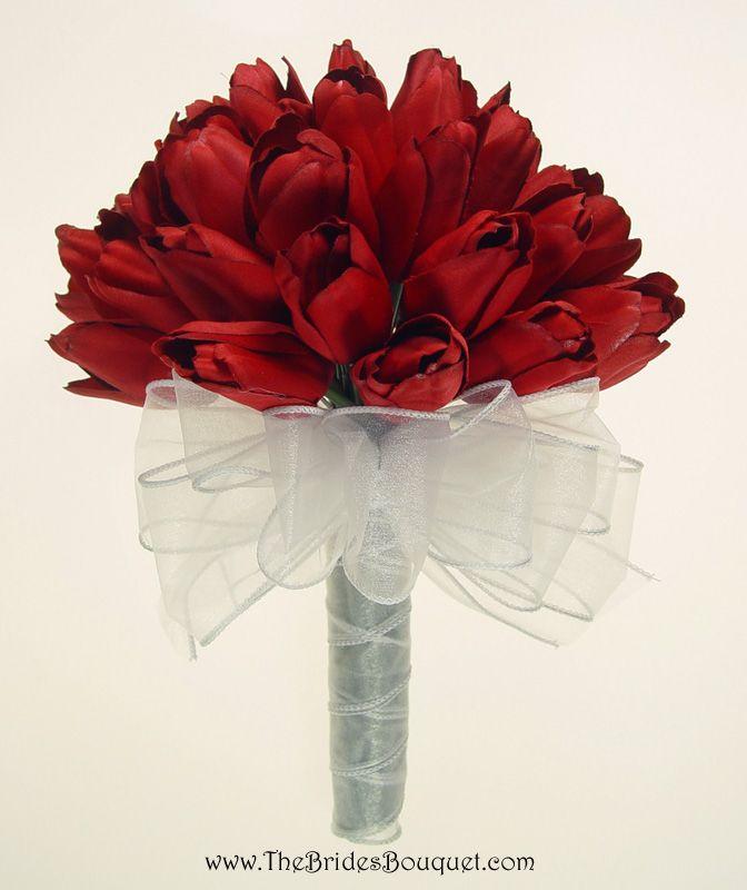 Artificial Tulip Wedding Bouquets : Tulip bouquet red orange silk tulips bridal wedding