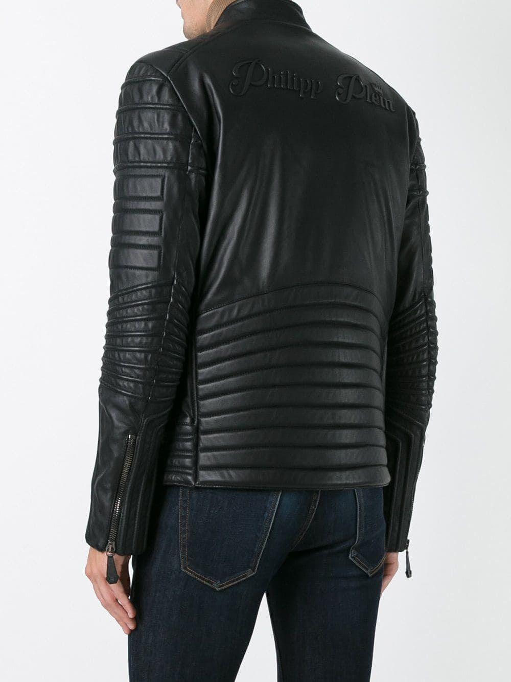 Philipp Plein Ribbed Panel Biker Jacket Biker Jacket Jackets Leather Jacket [ 1334 x 1000 Pixel ]