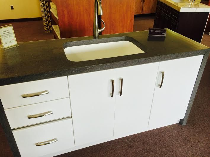 Beau Corian® Lava Rock Featured With A Corian® Sink Model #881 In Glacier White