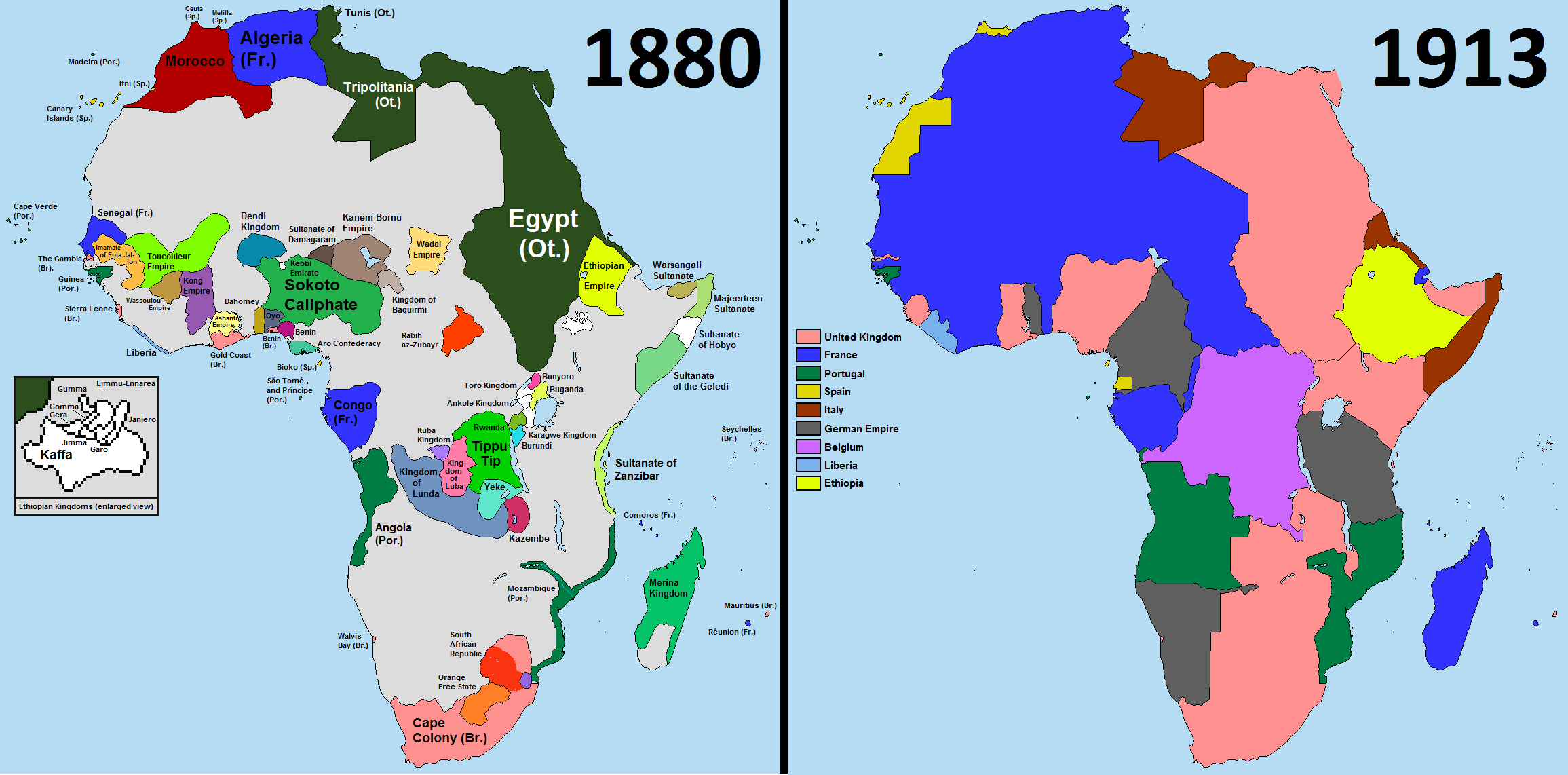 A map comparison of Africa in 1880 and in 1913 | Africa | Africa