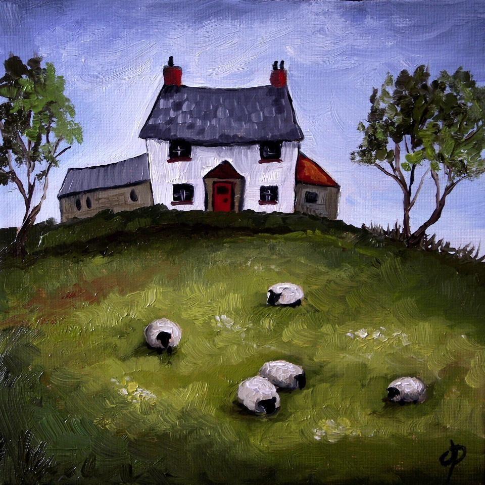 House Landscape Images: Welsh Cottage, Sheep. J Palmer Original Oil Painting