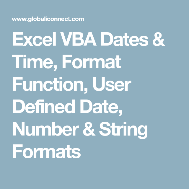 Excel VBA Dates & Time, Format Function, User Defined Date