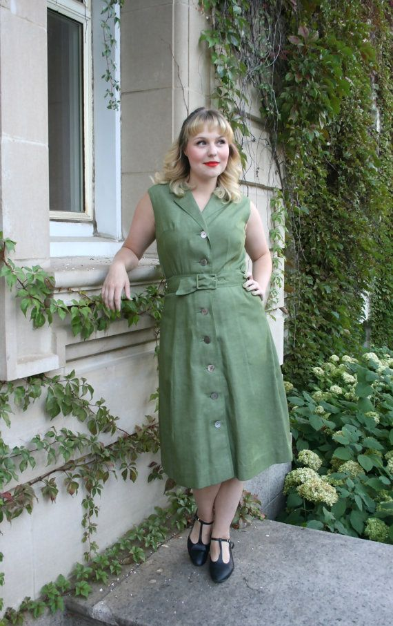 Vintage 1970s HOLT RENFREW French Green Twill by adelinesattic, $148.00
