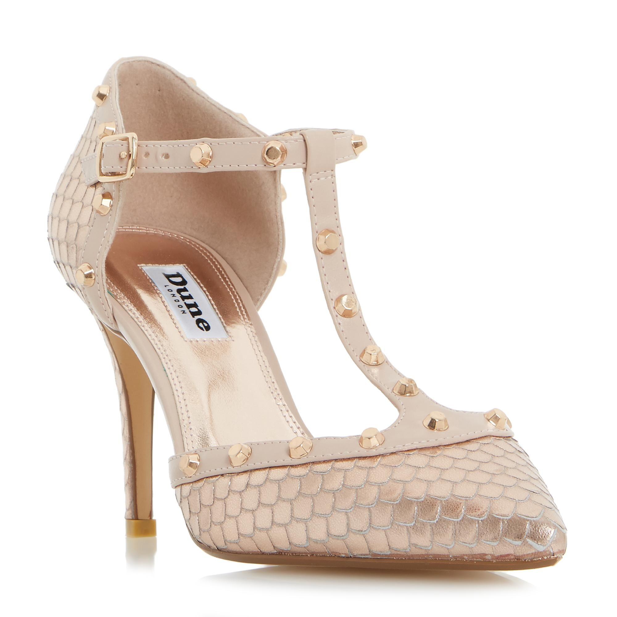 870e681d11af1 DUNE LADIES CLIOPATRA - Studded T-bar Court Shoe - rose gold