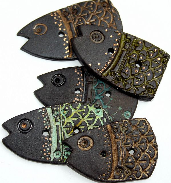 Stoneware Fish Buttons by Lisa Peters Art on Flickr