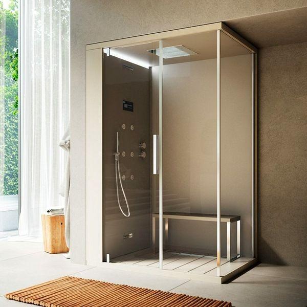 steam shower shower enclosure massage nozzles metal beige glass ...