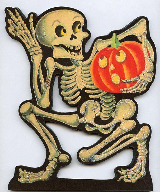Halloween Skeleton Skull Art Deco W Pumpkin On By CoolCatCity 1950