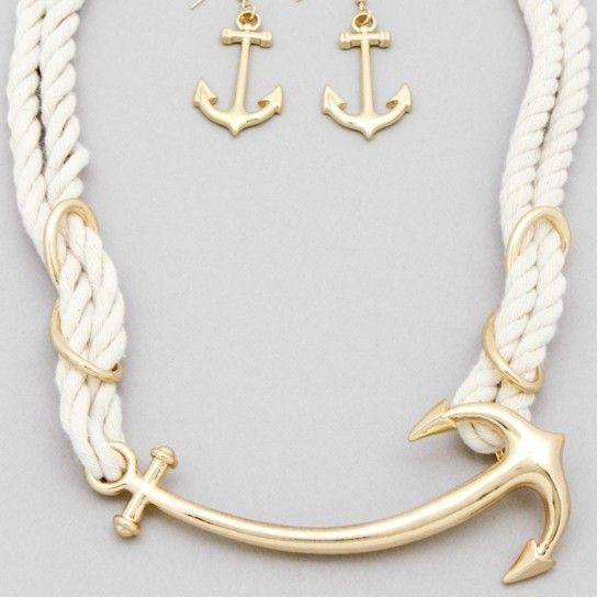 Sailors Rope Anchor Necklace and Earring Set by Salt Air Girl on Opensky