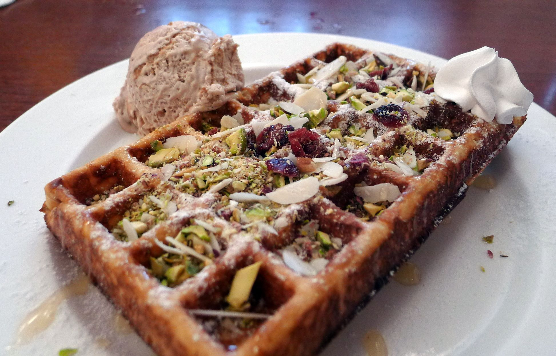Healthy Honey Pistachio Almond Waffle at the Green Waffle Diner in Hong Kong (Sept 2013) - Photo taken by BradJill