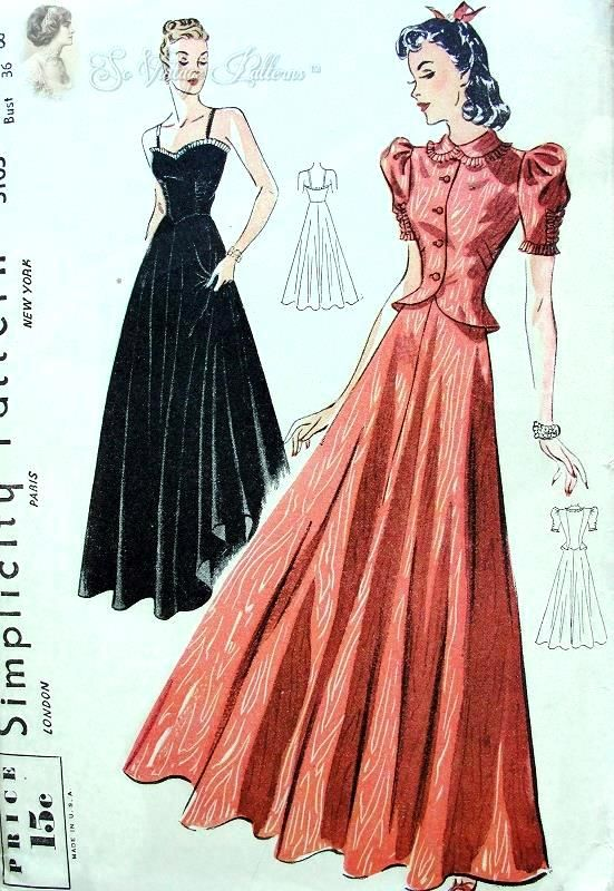 1930s Stunning Evening Gown and Jacket Pattern Sculptured Bodice ...