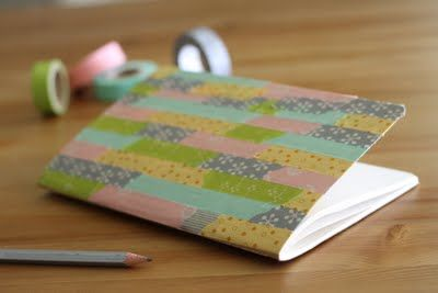 Masking tape covered notebook with modpodge to protect