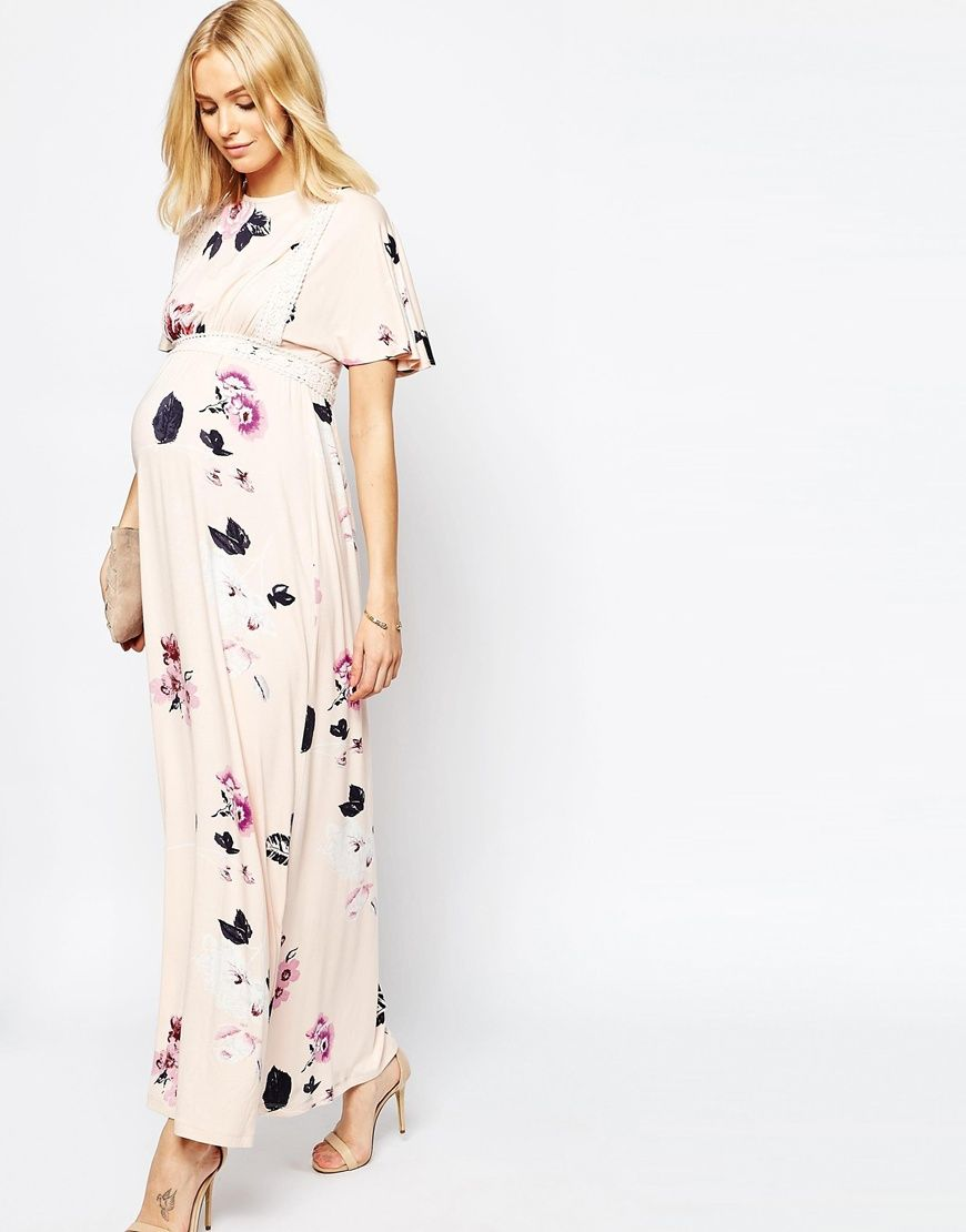 39dbdd1ab4ac2 Image 4 of ASOS Maternity Angel Sleeve Maxi With Lace Inserts in Spaced Floral  Print