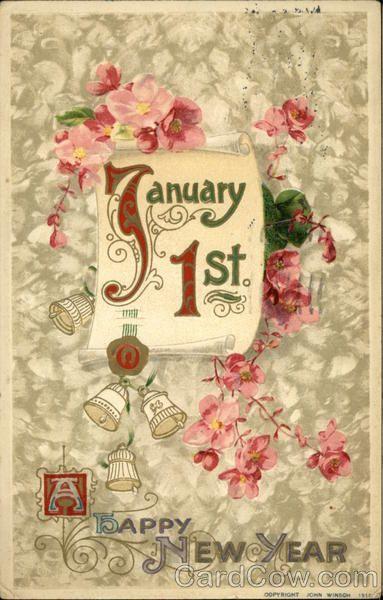 A Happy New Year January 1st Vintage Happy New Year Vintage Greeting Cards Happy New Year Cards