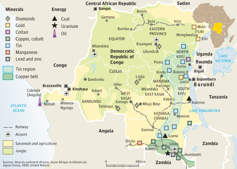 Note Copper Belt in lower right. map of drcs mineral resources