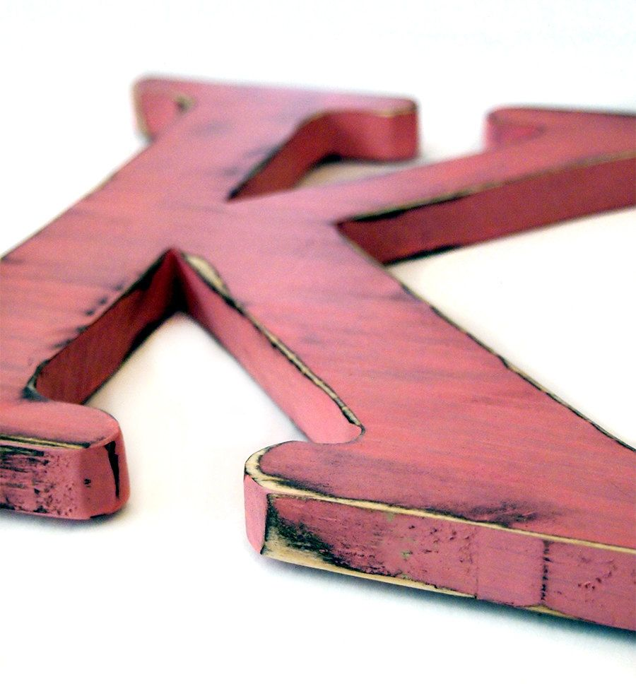 Wooden Letter K Pictured In Blush Pine Wood Sign Wall Decor Rustic