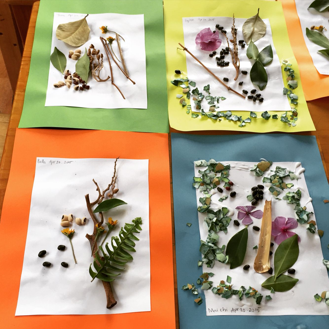 Nature collages made with objects found in our own garden | Nature ...