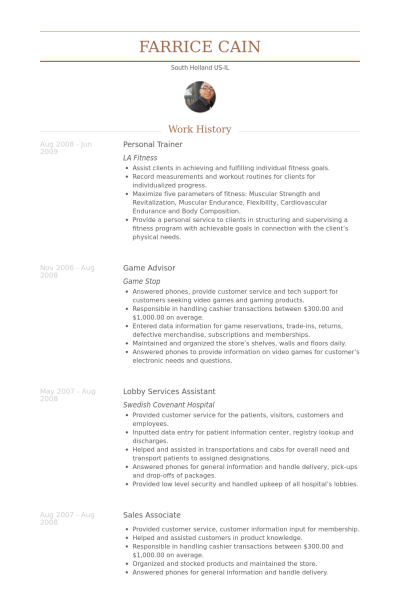 Personal Trainer Resume Example  Ideas For The House