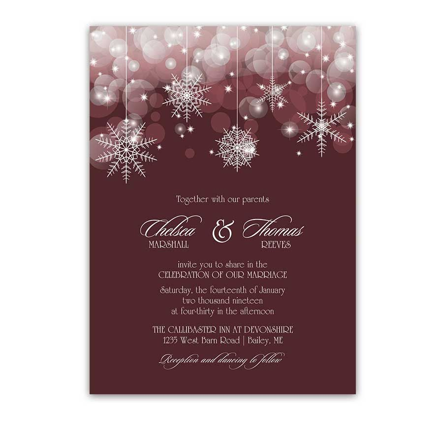 Snowflake Winter Wedding Programs Burgundy Wine | Winter wedding ...