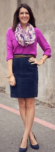 c25bc564f2c2 Outfit Posts: outfit post: denim pencil skirt, maroon camp shirt, floral  scarf
