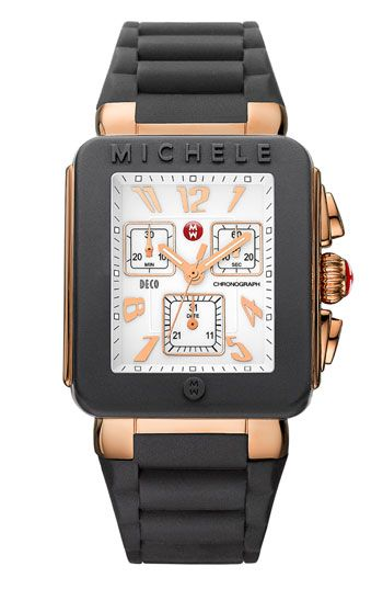 7904edd38 MICHELE 'Deco Jelly Bean' Square Chronograph Silicone Strap Watch available  at #Nordstrom
