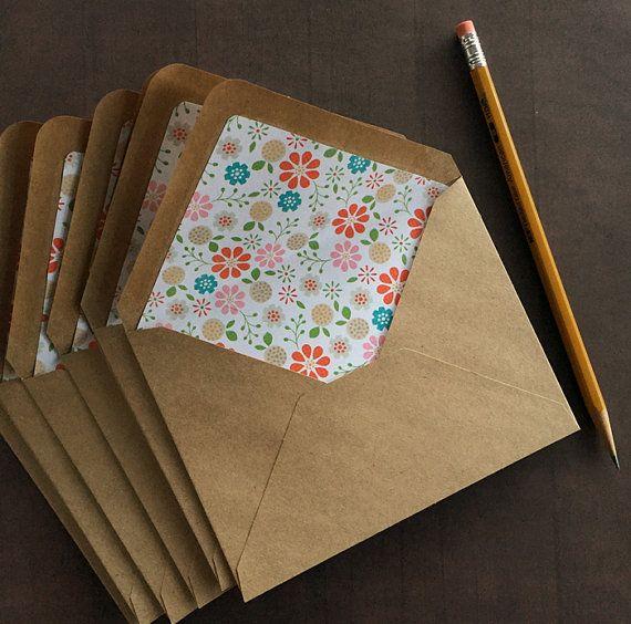 A2 Kraft Envelopes. Set of 8 Decorative paper lined envelopes ...