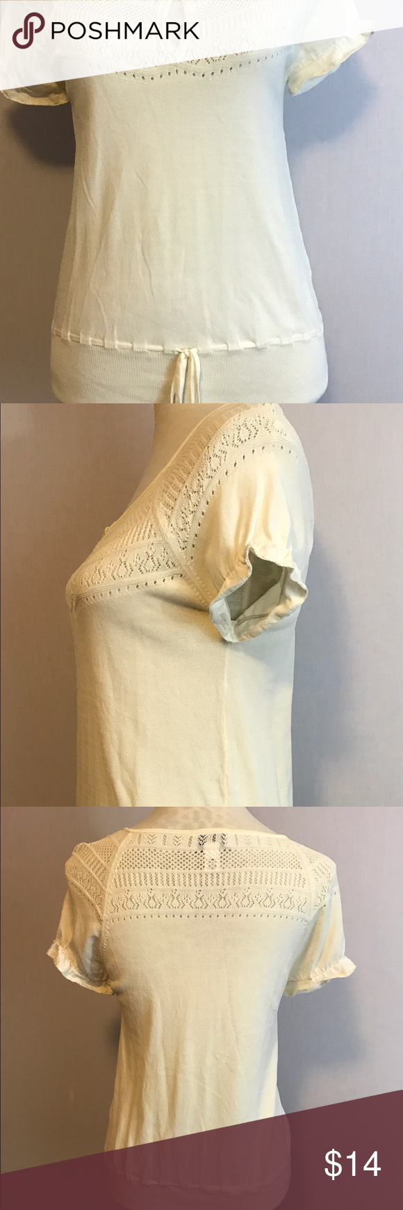 Ann Taylor LOFT Top Size XS Cream top. Short sleeve. Band with tie around bottom. 63% rayon 37% nylon LOFT Tops Blouses
