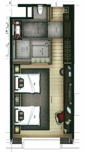 Hotel Room Plan: Interiores De Hoteles