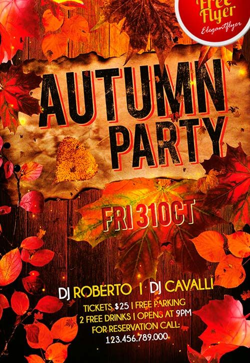 Free Autumn Party Flyer PSD Template   Http://freepsdflyer.com/free