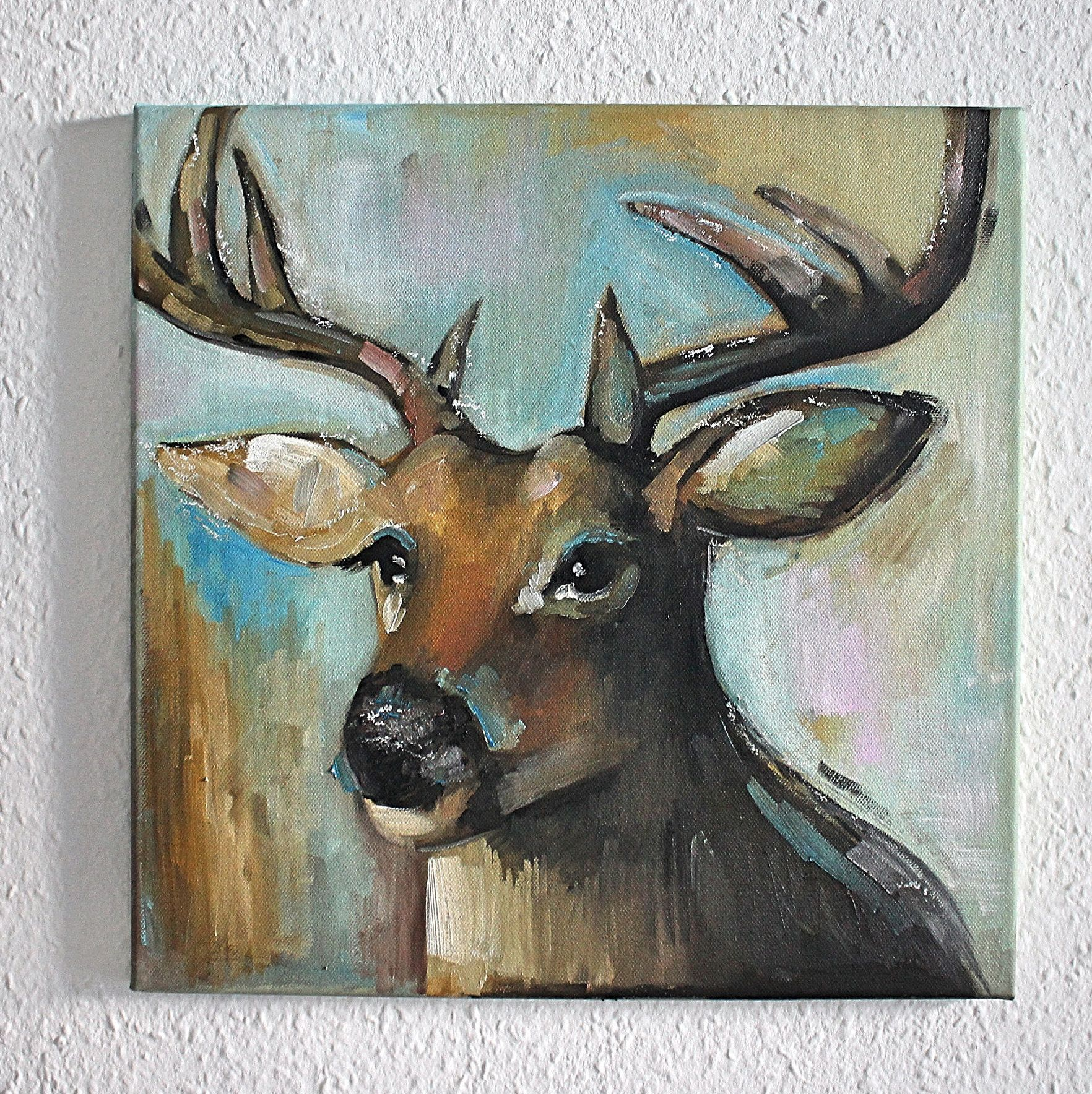 Oil Painting On Canvas  Deer Painting, Stag Painting, Antlers,