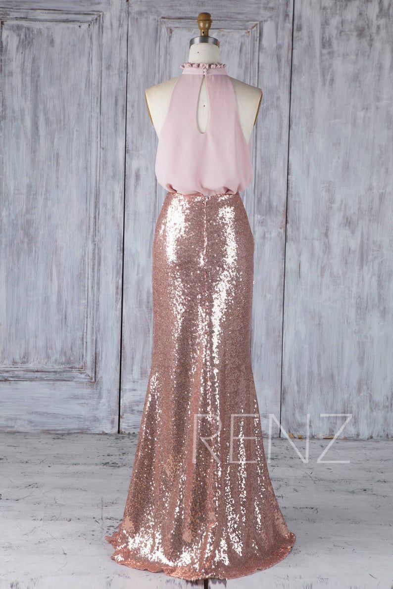 Bridesmaid Dress Rose Gold Sequin Dress Blush Chiffon Dress Etsy In 2020 Rose Gold Bridesmaid Dress Bridesmaid Dresses Dresses