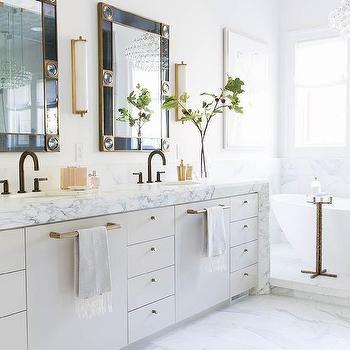 Marble Waterfall Bath Vanity Countertop Black Faucet Bathroom Alice Lane Home Bathroom Design