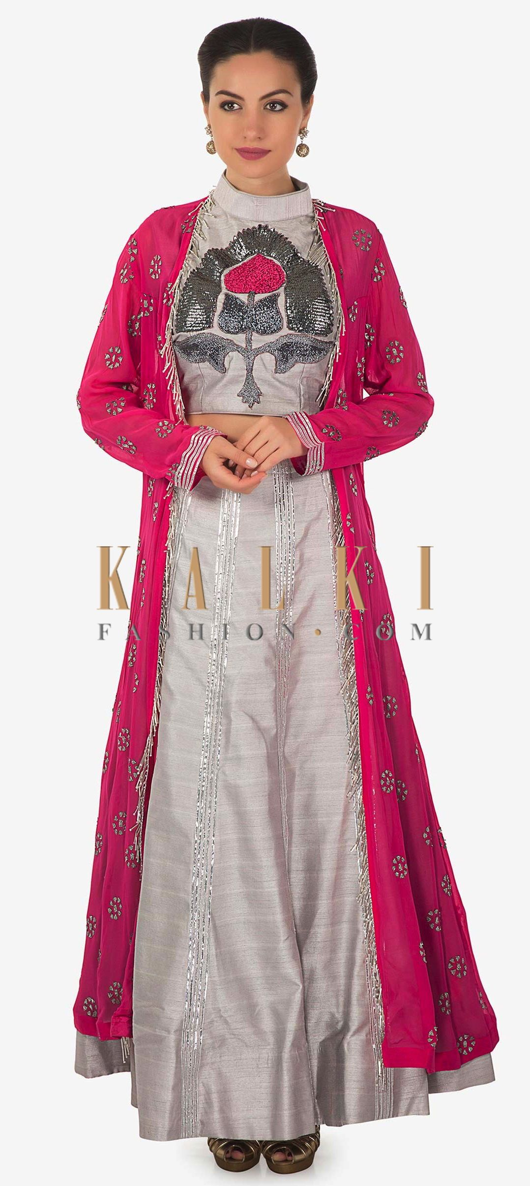 adf014ceb91 We ship worldwide (Free Shipping over US$100) Click Anywhere to Tag Grey  embroidered crop top blouse and skirt matched with pink long jacket only on  Kalki ...
