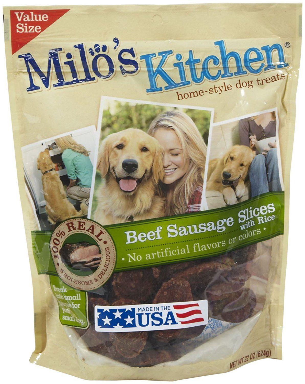 Milos kitchen big heart pet treats beef sausage 22 oz