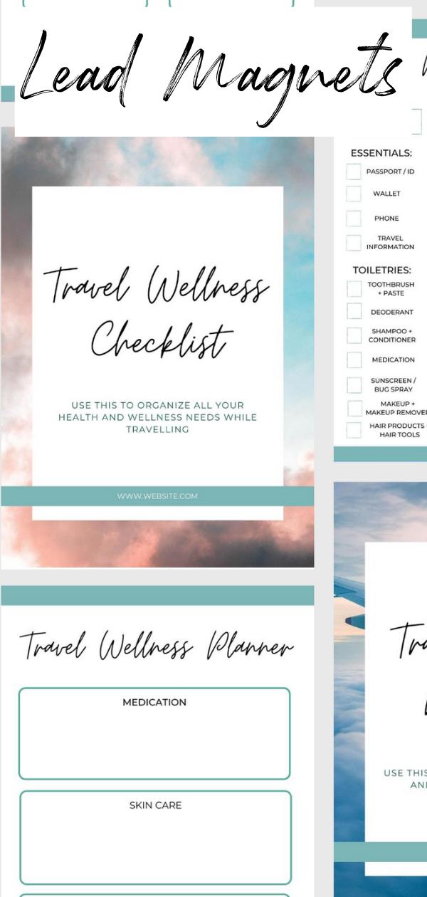 5 Customizable Travel Blogger Lead Magnets Canva Lead Magnet Canva Template Bundle Workbook Templates Checklist Cheatsheets Templates Workbook Template Travel Blogger Successful Branding