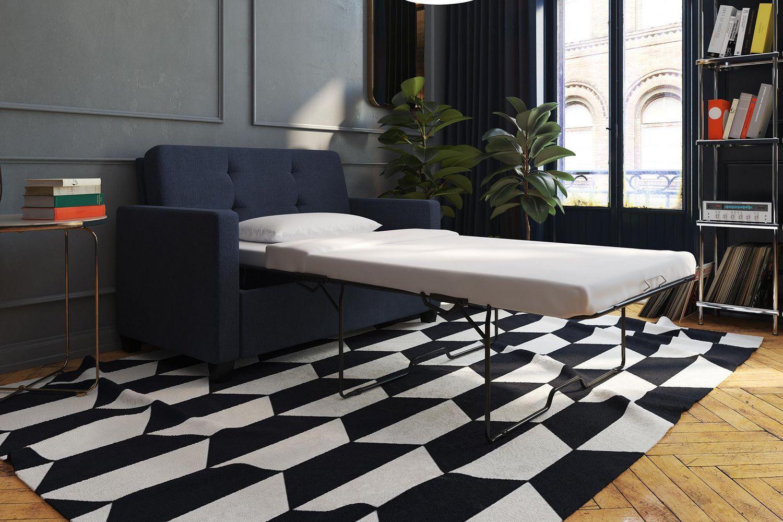 Devon Blue Linen Sleeper Sofa with Memoir CertiPURUS