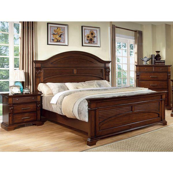 Furniture Of America Eminell 2-Piece Antique Walnut Bed