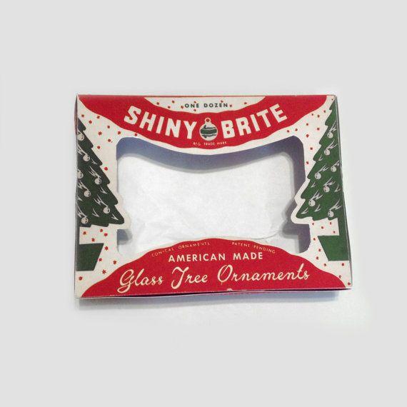 Vintage Christmas Shiny Brite Ornament Box Digital Craft File Printable INSTANT DOWNLOAD