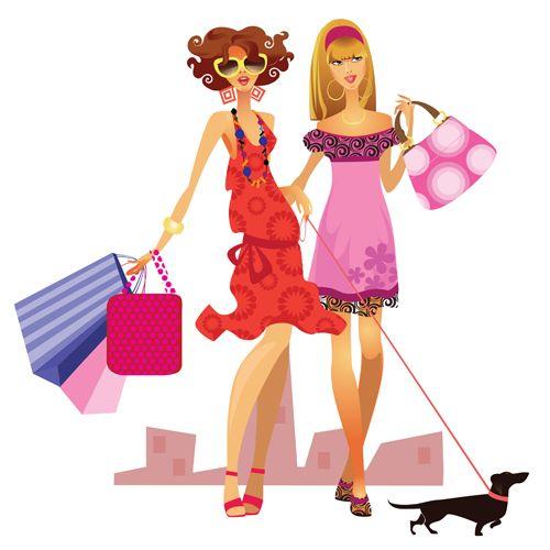 Fashion shopping girls vector material set 08