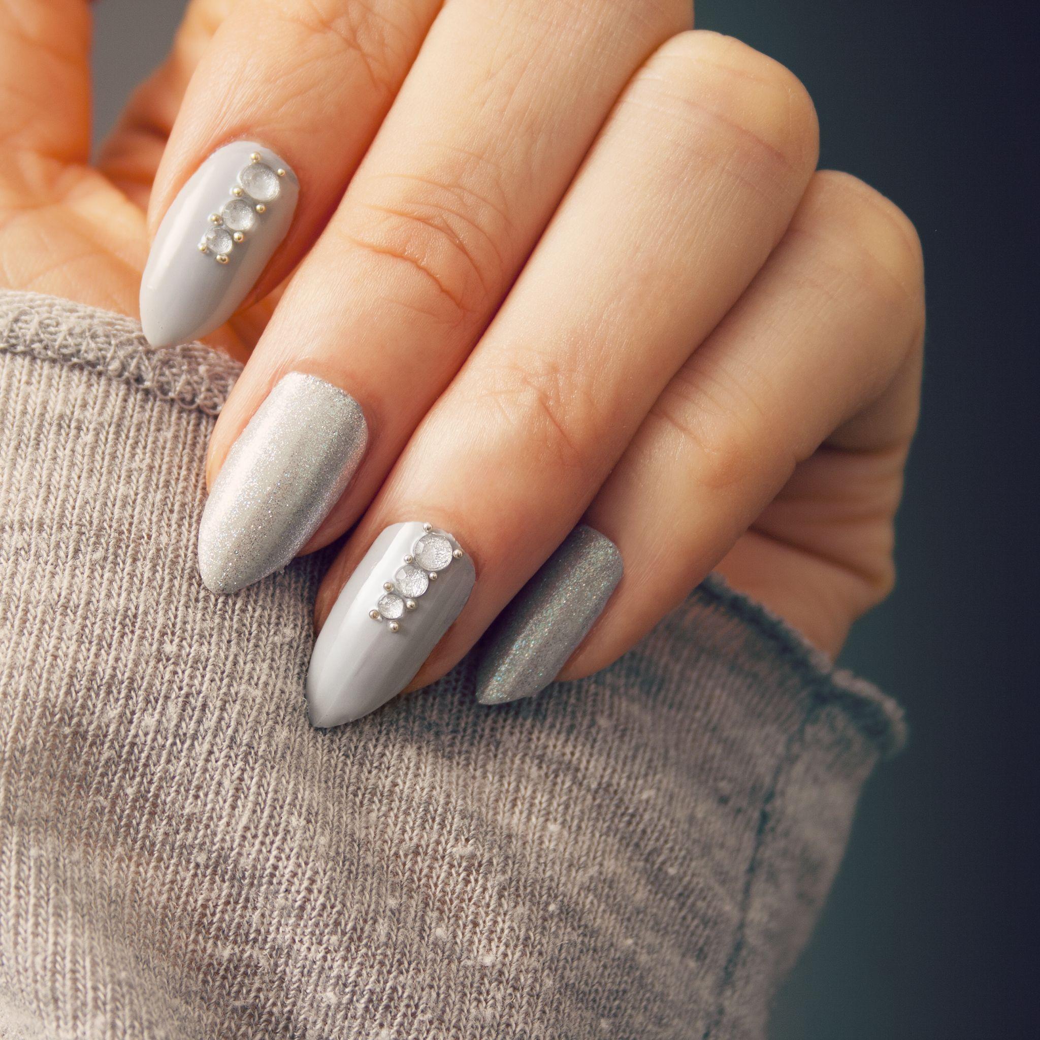 Grey Crystal Nails | Nail Art Tutorial | A very easy nail ...