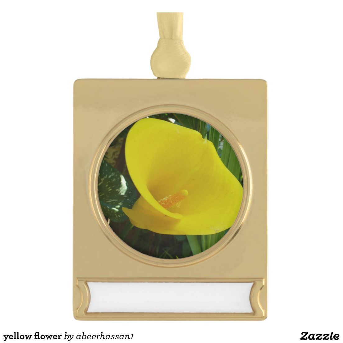 yellow flower gold plated banner ornament