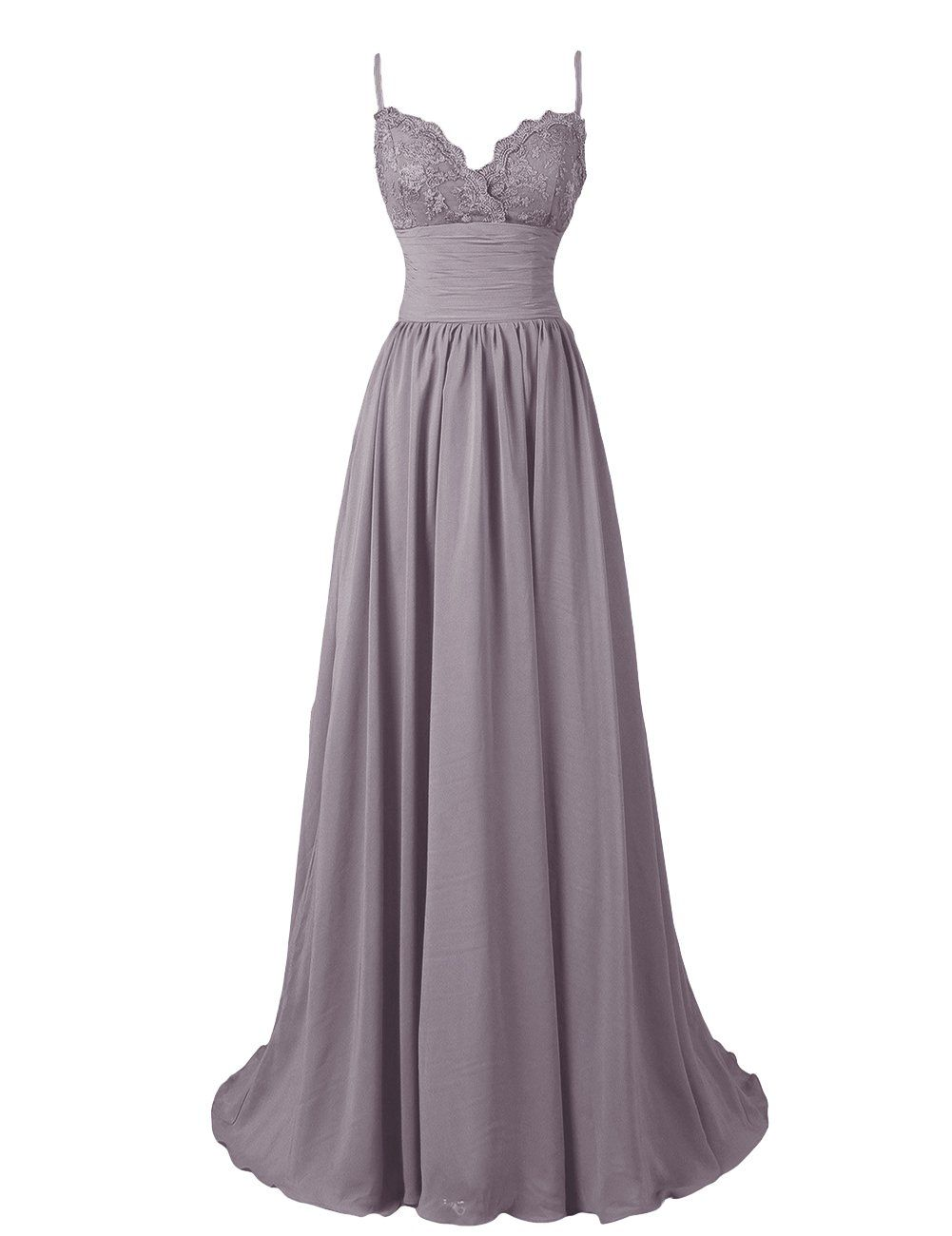 Diyouth aline spaghetti straps sweetheart long lace chiffon prom