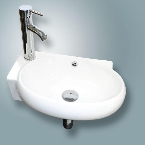 Wall Mount White Porcelain Ceramic Vessel Sink Vanity Bathroom Combo Set  Bath