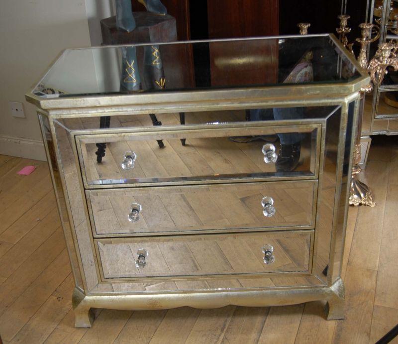 Art Deco Mirrored Italian Chest Drawers Commode Cabinet Mirror