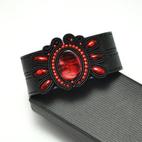 Soutache bracelet, gothic jewelry, black red, soutache jewelry, hand embroidery, elegant bracelet, eco leather, black jewelry, wide bracelet