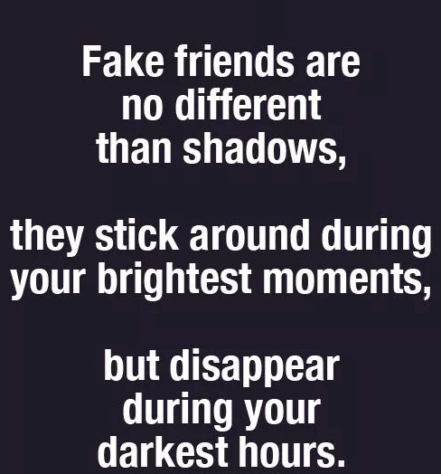 Quotes On Fake Friends They Disappear During Darkest Hours Too Scared To Stand With You Like Shadows Fake Friend Quotes Fake Quotes Fake People Quotes