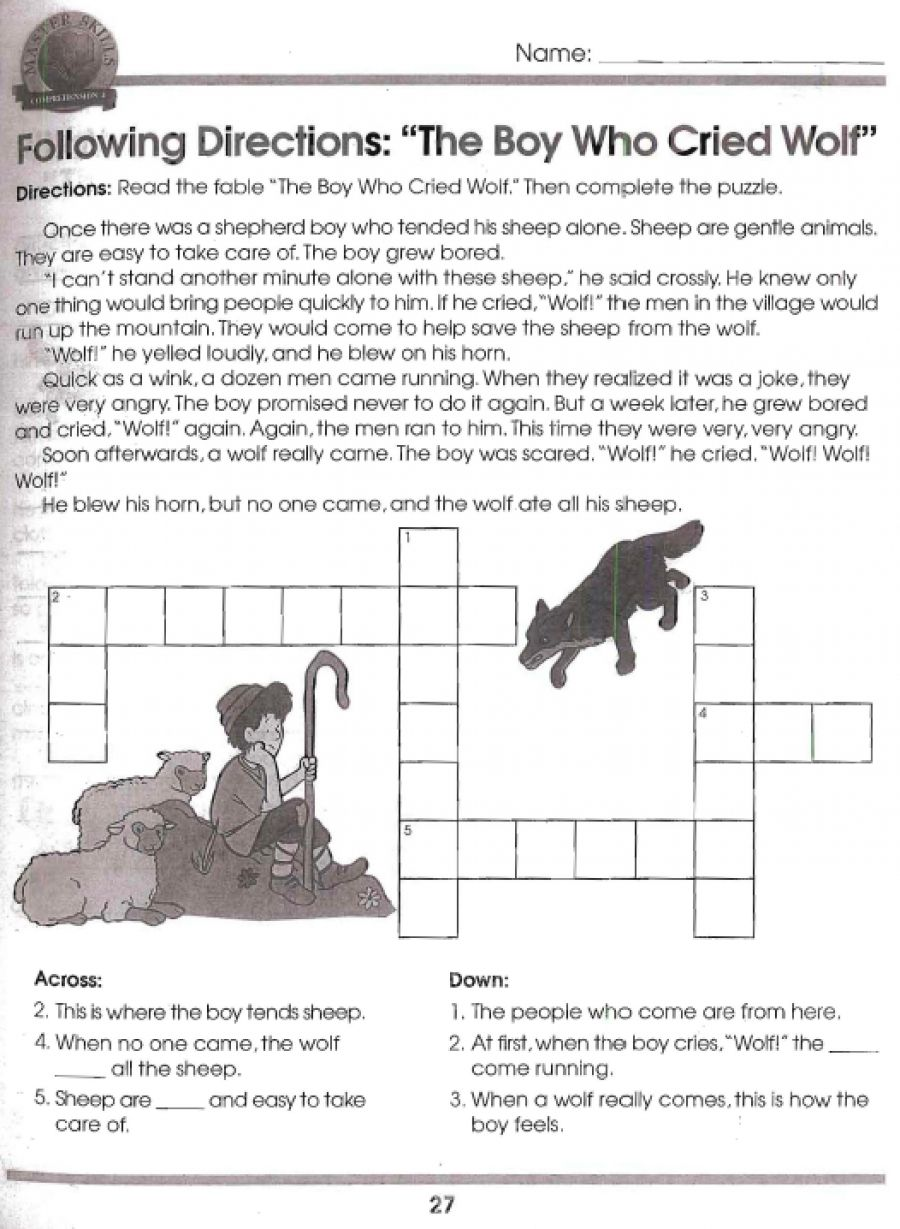 worksheet Fables Worksheets boy who cried wolf cause and effect actvities school let your students practice independently or with partners for these two worksheets first page has the fable a crossword puzzle c