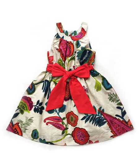 Sophie Catalou White Floral A-Line Dress - Toddler & Girls | zulily