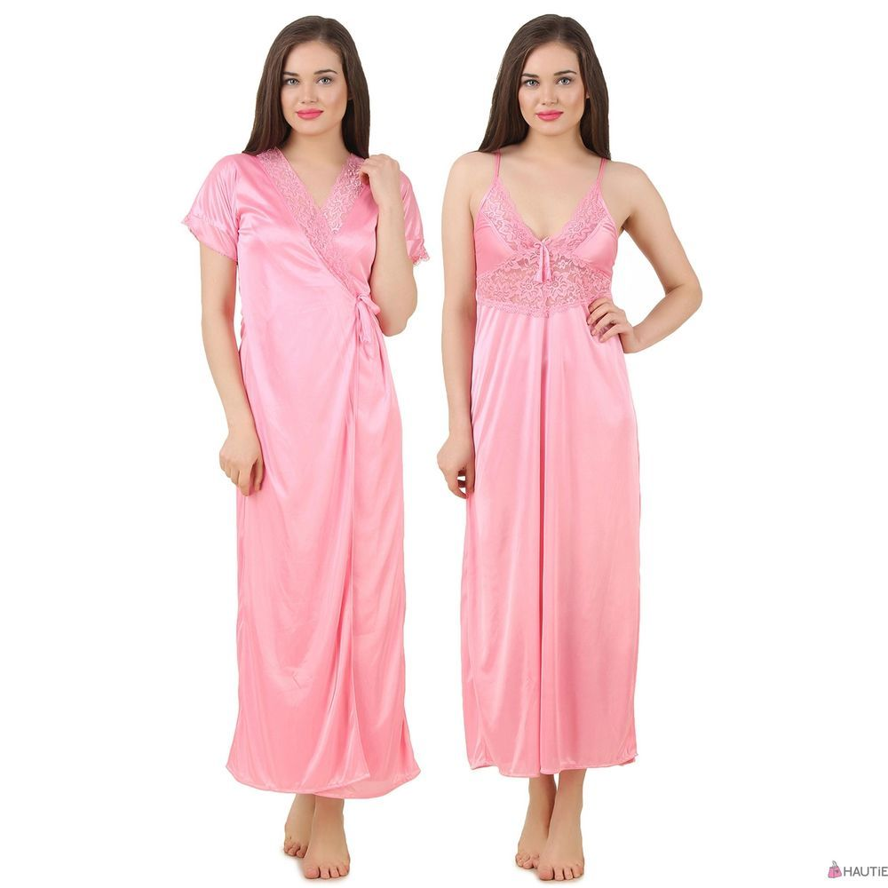 04f7c934dd WOMENS SATIN LACE LONG NIGHTDRESS LADIES NIGHTY CHEMISE LACE DETAILED